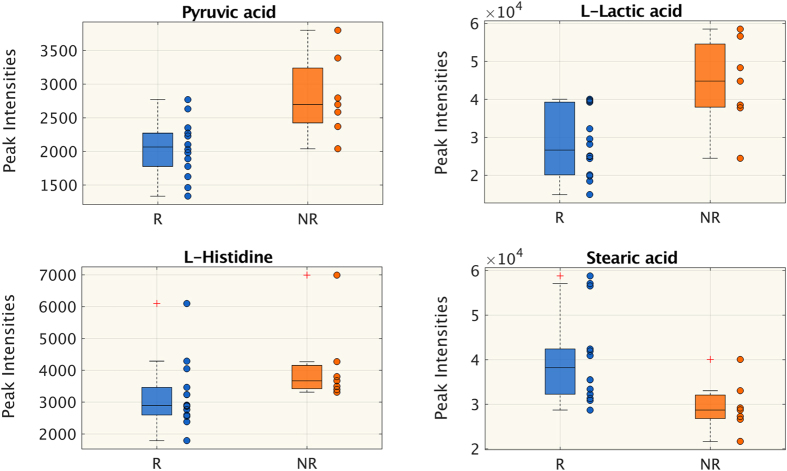 Untargeted metabolomics. Metabolites whose peak intensity is significantly different between responsive (R) and non-responsive (NR) patients at T2 (Wilcoxon rank-sum test p
