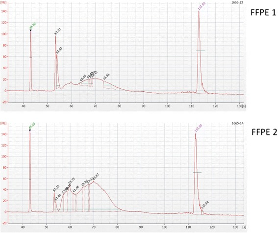 Bioanalyser images demonstrating quality of two FFPE RRBS libraries. Each of the RRBS libraries (FFPE1 and FFPE2) was run on an Agilent 2100 Bioanalyzer using the high sensitivity DNA kit. The electropherogram displays a plot of fragment size (bp) versus fluorescence intensity. Peaks at 35 bp and 10,380 bp represent lower and upper markers. The 160–340 bp peaks represent the RRBS library