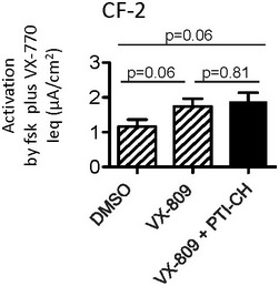 Summary of forskolin‐ and VX‐770‐dependent responses in Ussing chamber studies of nasal cultures from subject CF‐2 Bars represent mean and SEM of five biological replicates (different nasal cell seedings). Statistical significance assessed using paired t ‐tests. The combination of VX‐809 (3 μM) + PTI‐CH (1 μM; black bar) did not enhance forskolin and VX‐770 activated Ieq relative to VX‐809 alone (hatched bar corresponding to primary nasal culture data shown in Fig 6 E).