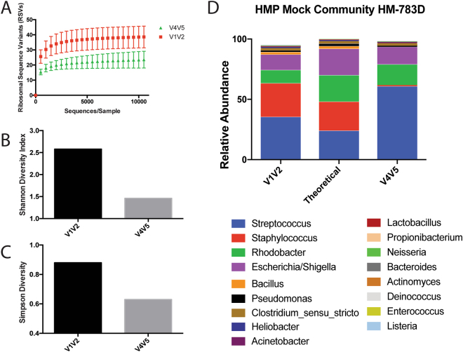Analysis of Microbial Mock Community HM-783D. ( A ) Rarefaction curves of sequencing data obtained using mock microbial community HM-783D for both V1V2 and V4V5 regions of the 16S rRNA gene. Sequences were subsampled in increments of 500 to an even depth of 14,000 sequences per sample. ( B ) Shannon and ( C ) Simpson diversity calculated for the mock community using the V1V2 and V4V5 hypervariable regions. ( D ) Theoretical and observed relative abundances of genera detected in HM-783D using the V1V2 and V4V5 hypervariable regions.