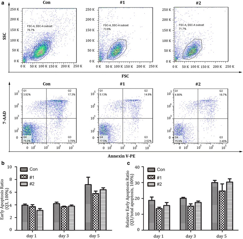 Apoptosis analysis after lenti-X4R5-Cas9 modification in primary CD4 + T cells. a Annexin V and 7-AAD were utilized to stain modified CD4 + T at 1,3 and 5 days post nucleofection with flow cytometry. Necrotic cells (Annexin V-/7AAD +), necrotic or late apoptotic cells (Annexin V +/7AAD +); early apoptotic cells (Annexin V +/7AAD-); viable cells (Annexin V-/7AAD-). b Early apoptosis ratio at day 1,3,5 post gene disruption. c relative early apoptosis ratio (Q3/total none viable cells). The total none viable cells = Q2 + Q3. The data shown were the mean ± SD of three independent experiments. *P