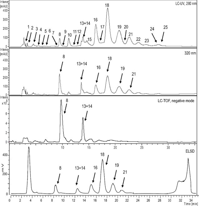 Phytochemical analysis of an <t>EtOAc</t> extract of P. persica performed using <t>HPLC-TOF-MS</t> combined with UV (280, 320 nm) and ELSD detection.
