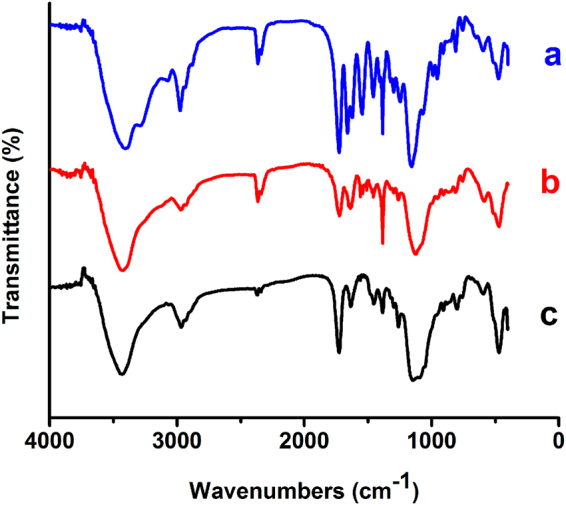 IR spectra of the co-polymers P(NIPAM-MAA-GMA) contains 50% ( a ), 30% ( b ) and 0% ( c ) of NIPAM and MAA.