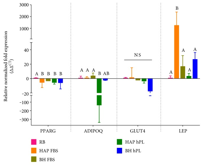Expression of markers of adipogenesis. <t>RNA</t> was isolated from cells differentiated in media supplemented with 10% FBS or 10% hPL, and expression of PPARG , ADIPOQ , GLUT4 , and LEP was measured by <t>RT-PCR.</t> Statistically significant differences were determined by one-way ANOVA with Tukey's multiple comparisons. Data represents the mean ± SEM of three biological replicates from three donors/group. RB represents the mean ± SEM of three biological replicates from one donor from a commercial source. Significant differences between groups are designated by alphabetical letters. Any groups with the same letter are not statistically different from each other ( p