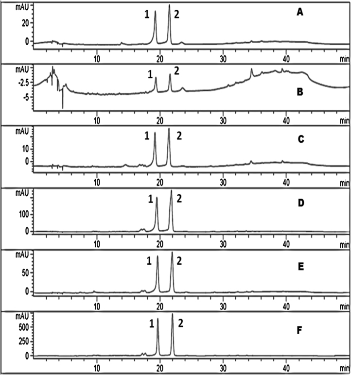 <t>HPLC</t> chromatogram of black gram milled by-product fractions showing <t>vitexin</t> (1) and isovitexin (2). (A) Whole gram; (B) Dhal; (C) Germ; (D) Aleurone; (E) Plumule; (F) Husk.