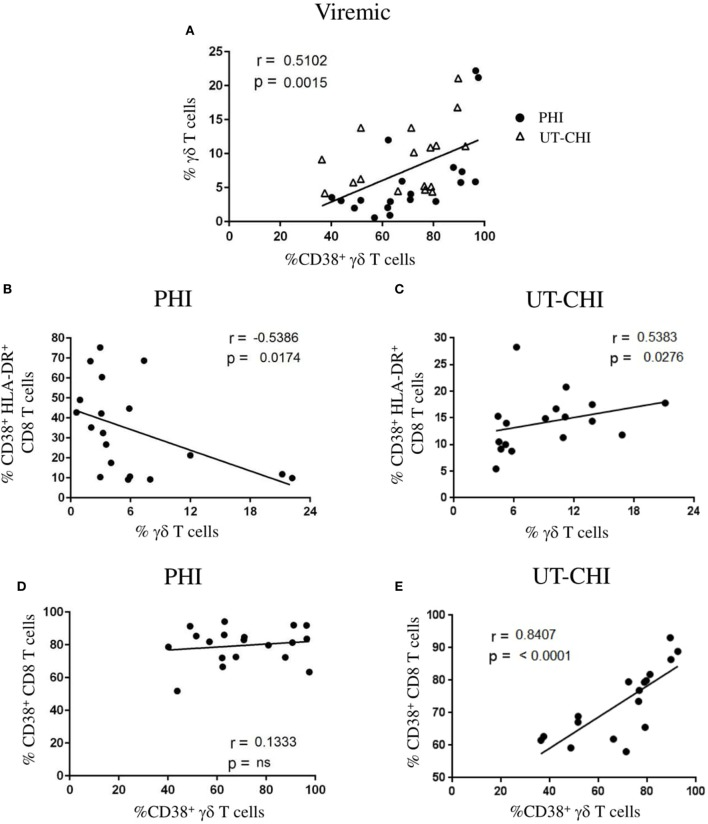 Frequency of γδ T cells is negatively correlated with CD8 T cell activation in primary <t>HIV</t> infection <t>(PHI).</t> (A) Relationship between the frequency of γδ T cells and the proportion of CD38 + γδ T cells in viremic patients [PHI and untreated chronic HIV infection (UT-CHI)]. (B,C) Correlation analysis between the frequency of γδ T cells and the proportion of CD38 + HLA-DR + CD8 T cells in PHI and UT-CHI. (D,E) Correlation between the frequencies of CD38 + γδ T cells and CD38 + CD8 T cells in PHI or UT-CHI. Spearman rank correlation coefficients ( r ) and corresponding p values are indicated in each panel; p -values are indicated as significant when