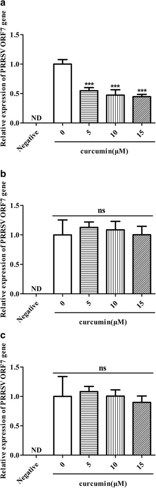 Measurement of a curcumin effect on PRRSV absorption in Marc-145 cells. Marc-145 cells were pre-chilled at 4 °C for 1 h followed by incubation with curcumin-pretreated GD-HD (MOI: 100) ( a ), or a mixture of GD-HD (MOI: 100) and curcumin ( c ) at 4 °C for 1 h. For pretreatment of cells, Marc-145 cells were pre-incubated with curcumin at 37 °C for 1 h. After incubating cells at 4 °C for 1 h, both GD-HD (MOI: 100) and curcumin were added and incubated for 1 h at 4 °C ( b ). After washing out unbound virus, total RNA was extracted from the cells and the relative cell-bound PRRSV RNA levels were measured using qRT-PCR