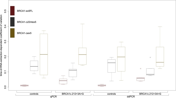 Boxplot of coefficients of variation for all cDNA-assay combinations over all time points of both quantitative PCR techniques. We observed an inverse correlation between the CV and the relative abundance of each isoform; CVs are consistently higher for isoforms with lower expression. CVs for each transcript range within the same order of magnitude and all experiments show very small standard errors, leading us to conclude that precision, reproducibility and repeatability are not an issue with either quantitative PCR technique.
