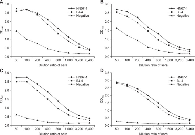 The specific immunogenicity of recombinant Nsp7 tested by enzyme-linked immunosorbent assay. (A) Immunoreaction of the recombinant Nsp7 purified through Ni-chelating affinity chromatogr aphy with positive sera to porcine reproductive and respiratory syndrome virus (PRRSV) strain BJ-4 and HN07-1. (B–D) Immunoreaction of larger aggregate, dimer, and monomer separated by a gel filtration chromatography with positive sera to PRRSV strain BJ-4 and HN07-1.