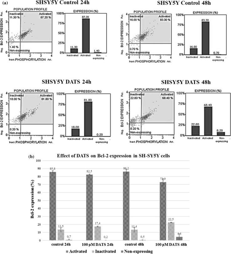 Effect of diallyl trisulfide on expression of Bcl-2 in SH-SY5Y cells. The cells were treated with 100 µM DATS for 24 and 48 h. Bcl-2 expression was analyzed using a Muse™ Bcl-2 Activation Dual Detection Kit. The samples were analyzed by flow cytometry. a One set of representative results is shown. b Each point represents the mean ± SD of three independent experiments