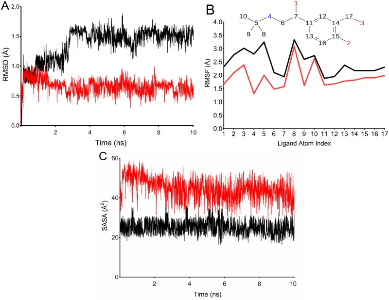 Trajectory analysis of salbutamol in complex with wild and T164I β2AR. (A) RMSD of salbutamol with respect to the reference conformation in wild and T164I β2AR. (B) 'Fit on protein' line shows atomic fluctuations (RMSF) with respect to the receptor. Corresponding atoms of salbutamol is shown as 2D structure in the top panel. (C) Solvent accessible surface area of salbutamol in course of simulation. Trajectory lines for wild and T164I β2AR are represented in red and black color respectively.