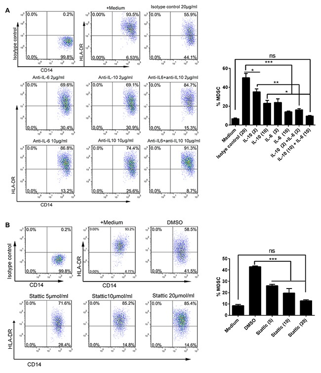 AF-driven expansion of CD14 + HLA-DR -/low MDSC was dependent on IL-6/IL10-STAT3 signal pathway PBMC from HD (n = 3) were treated with the AF (50% v/v) from OC patients (n=4) in the presence of neutralizing antibodies against IL-6 and/or IL-10 (A) or STAT3 inhibitor stattic (B) for 48 hours and then analyzed for the abundance of CD14 + HLA-DR -/low MDSC by flow cytometry. Addition of isotype antibody or DMSO was as controls. The representative dotplots were shown in left panel and the statistics were shown in right graph. The data are expressed as mean ± SEM of 4 biological replicates and representative of three independent experiments. *p
