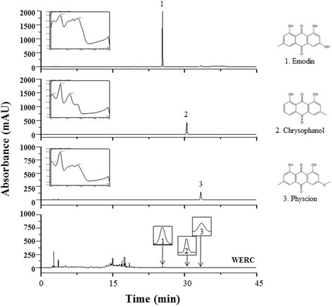 HPLC-DAD chromatogram of WERC and three standard components (emodin, chrysophanol, and physcion) at wavelengths of 280 nm