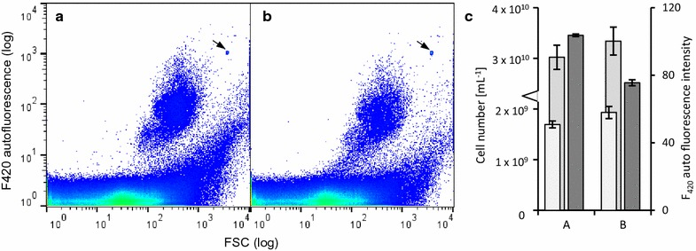 Influence of nucleic acid staining on F 420 fluorescence. a Unstained digester sample after 3 h as a control. b The same sample after 3 h of SYBR Green I staining. c Cell numbers of the subcommunities F420+ (white bar), F420− (light grey bar) and autofluorescence intensity (dark grey bar) of the subcommunities F420+ are indicated with the respective standard deviations. Samples were gated according to Additional file 1 : Figure S4. Values are given in Additional file 1 : S7. The arrow marks the added control beads