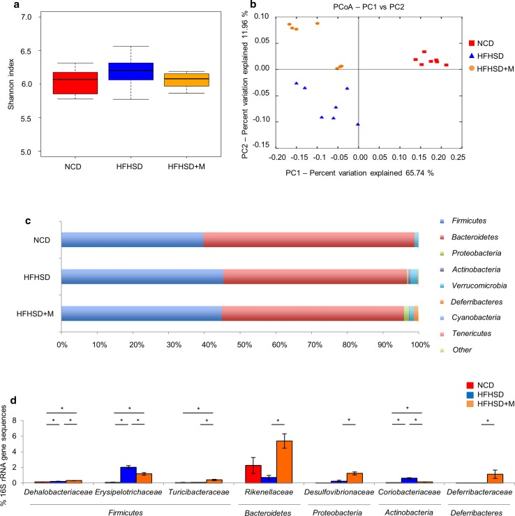 Gut microbiota changes in response to miglitol treatments. Mice were divided into three groups and fed a normal chow diet ( NCD ), a high-fat high-sucrose diet ( HFHSD ), or HFHSD containing 0.04% miglitol ( HFHSD+M ) for 12 weeks and then killed. a Estimates of bacterial diversity as assessed by the Shannon index ( n = 7 per group). b Principal coordinates analysis ( PCoA ) plots based on the weighted Unifrac distance matrices showing the clustering of global microbiota ( n = 7 per group). c Relative abundance of phyla in fecal samples between groups of mice ( n = 7 per group). d Relative abundance of families in fecal samples between groups of mice ( n = 7 per group). Data are presented as the mean ± standard error of the mean. PC principal coordinate, rRNA ribosomal RNA, asterisk statistical significance ( p