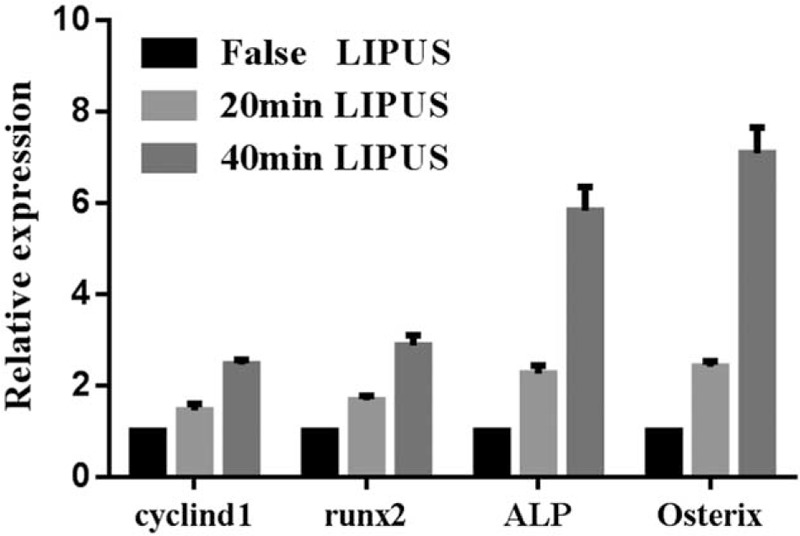 The expression of osteogenesis-related genes was significantly upregulated. After culture with conditioned medium, the relative expressions of differentiation markers Runx2, ALP, and Osterix in MG-63 cells were upregulated. Gene expression was detected by <t>qRT-PCR.</t> The expression of proliferation marker cyclin-D1 was also upregulated. Expression of these genes after 40 minutes of LIPUS treatment was significantly higher than after 20 minutes of LIPUS treatment.