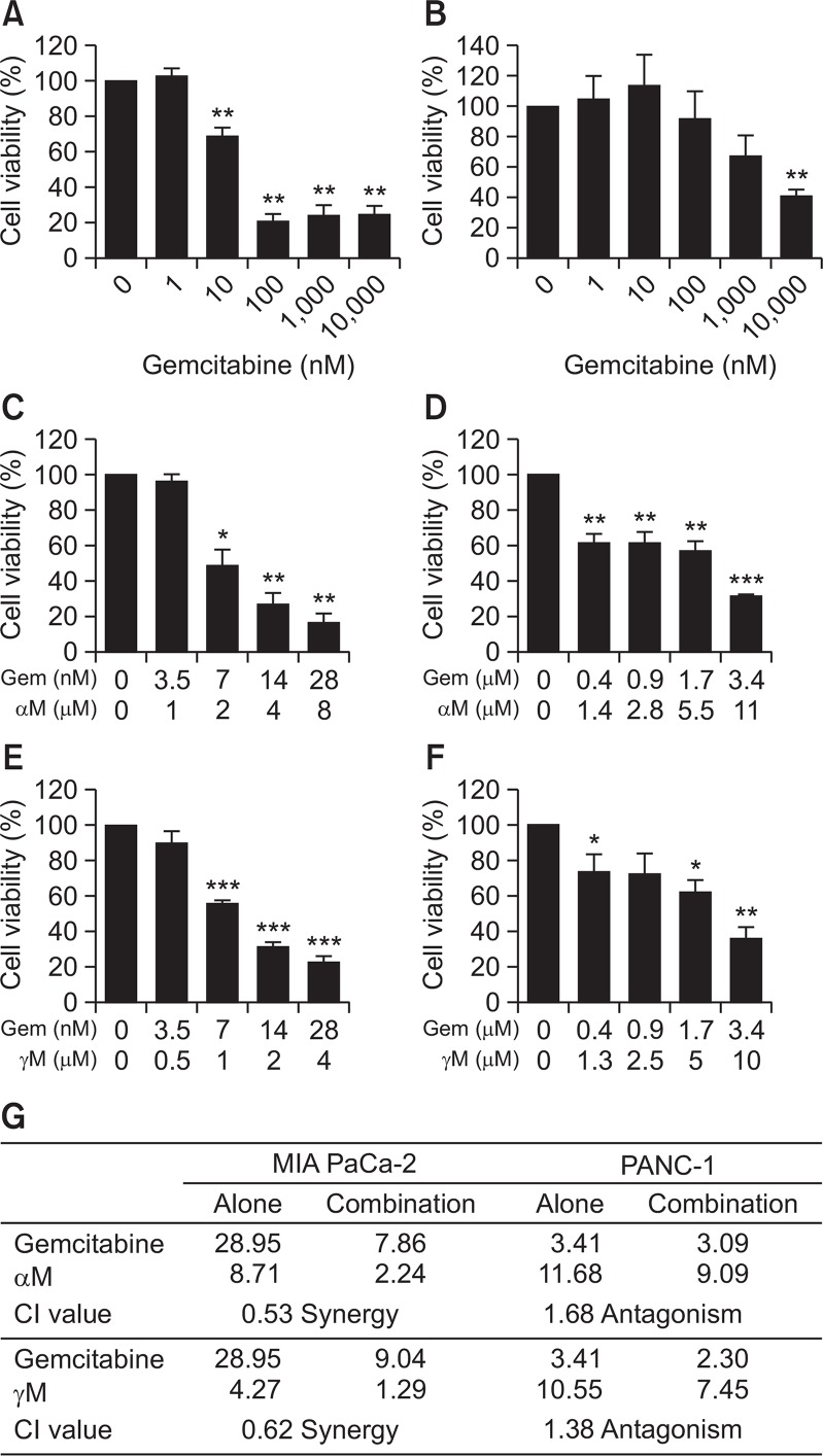Combinatorial effect of αM or γM with gemcitabine against pancreatic cancer cells. To evaluate IC 50 of gemcitabine, MIA PaCa-2 (A) and PANC-1 (B) were treated with gemcitabine for 72 h. Gemcitabine in combination with αM (C, D) or γM (E, F) were added to MIA PaCa-2 (C, E) or PANC-1 (D, F) at a constant rate based on each IC 50 value. After incubation for 72 h, cell viability was measured using WST-1 reagent and calculated from mean values of three wells. This experiment was repeated three times. CI value was calculated for combinatorial effect (G). * p