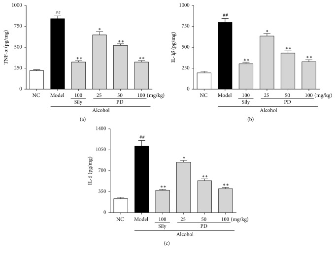 Effect of PD on inflammatory cytokines of TNF- α , IL-1 β , and IL-6 in liver. (a) TNF- α , (b) IL-1 β , and (c) IL-6. Values were presented as the mean ± SD. ## p