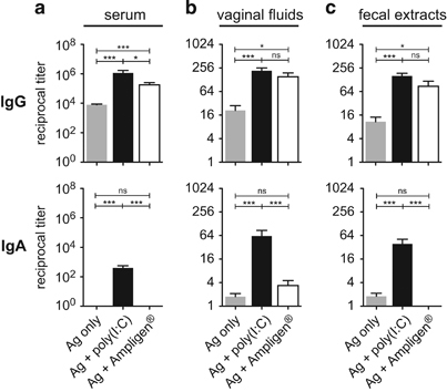 Ampligen promotes HIV-1 gp140-specific mucosal IgG but not IgA. Mice were immunised ID with either gp140 alone or together with Poly(I:C) or Ampligen. On day 28, gp140-specific IgG and IgA were titrated in serum ( a ), vaginal fluids ( b ) and fecal extract ( c ). Data represented mean+s.e.m. of Ab titer from three pooled experiments representing a total of 10–24 mice per group. Statistics using the Kruskal–Wallis test and Dunn's multiple comparisons.