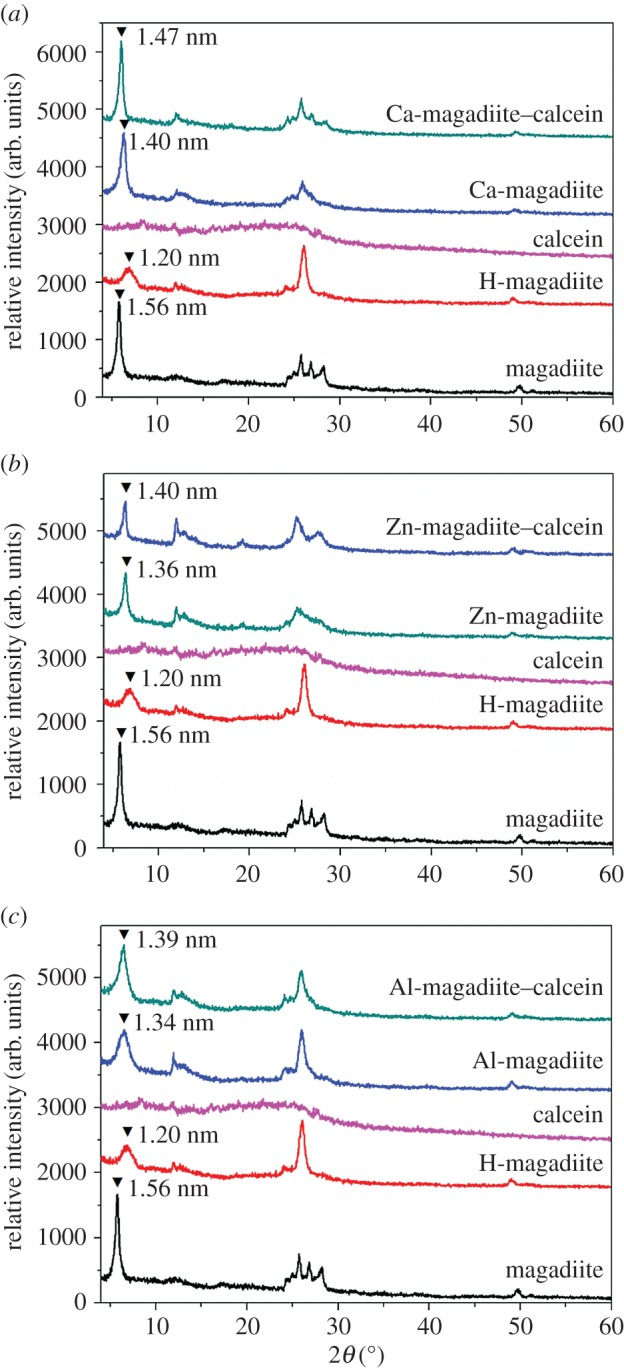 ( a – c ) XRD patterns of magadiite, H-magadiite, calcein, Ca, Zn, Al ion-exchanged magadiites and their intercalated compounds.