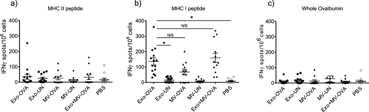 Splenocytes from all mice injected with OVA-loaded exosomes (Exo-OVA), and majority of those injected with microvesicles (MV-OVA) are responsive to antigenic restimulation. Splenocytes from mice immunised with either Exo-OVA, MV-OVA or a combination of the two were restimulated in an IFNγ ELISPOT. Numbers of IFNγ-producing units were counted after restimulation with the MHC class II-associated OVA 323–339 peptide ( a ), the MHC class I-associated OVA peptide SIINFEKL ( b ), or with whole OVA protein ( c ). Control groups were immunised with vesicles without antigen (Exo-UN, MV-UN) or PBS. Results are pooled from at least three independent experiments (n = 4–7 per group per experiment). *Indicates p