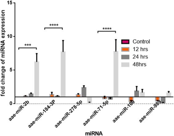 qRT-PCR analysis of selected six miRNAs showing differential regulation upon CHIKV infection at 12, 24, and 48 h, validating deep sequencing results. Data were expressed as mean ± SEM; **** p
