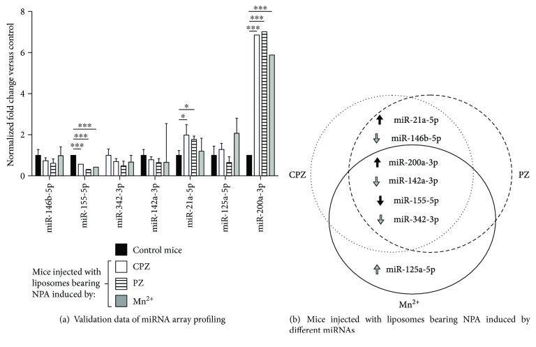 qRT-PCR validation of deregulated miRNAs in the three murine lupus-like models. (a) The validation of the six deregulated miRNAs found by PCR array, together with miR-342-3p because of its importance in human lupus [ 13 , 14 ], was made using specific TaqMan-directed qRT-PCR. Each miRNA expression level was normalized against endogenous RNU6 by the 2 −∆∆CT method and control mice (injected with smooth liposomes). Statistical significance was determined using the Holm-Sidak method. ∗ p ≤ 0.05, ∗∗∗ p ≤ 0.001. Asterisks indicate statistical significance between normalized fold changes from each murine lupus-like model versus the control group. (b) miRNA validation data as a Venn representation. Arrow colors indicate miRNA statistical significance (black for significant and grey for nonsignificant), and their direction shows upregulation or downregulation (inverted).