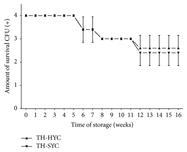Pneumococcal survival-time curves based on the means and standard deviation of CFU of five pneumococcal strains stored on TH-HYC and TH-SYC agar, along test 2. CFU (+): the number of CFU was expressed as crosses of growth in the recovery plate. TH-HYC: Todd-Hewitt/Hemoglobin/Yeast/Charcoal. TH-SYC: Todd-Hewitt/Skim-Milk/Yeast/Charcoal.
