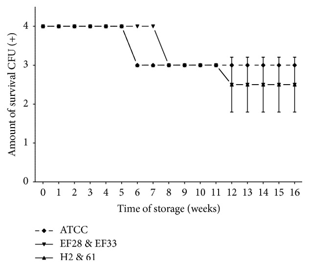 Pneumococcal survival-time curves based on the means and standard deviation of CFU of clinical isolates group (H2 and 61), nasopharyngeal isolates group (EF28 and EF33), and S. pneumoniae ATCC 49619 strain stored on TH-HYC agar, along test 2. CFU (+): the number of CFU was expressed as crosses of growth in the recovery plate. TH-HYC: Todd-Hewitt/Hemoglobin/Yeast/Charcoal.