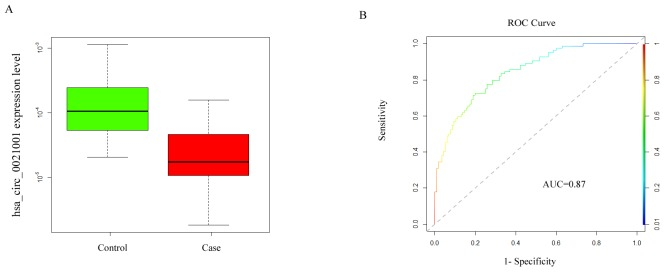<t>Hsa_circ_0021001</t> expression level in IA development (A) hsa_circ_0021001 expression in the experimental and control groups; (B) ROC curve for detection of the diagnostic efficiency of hsa_circ_0021001 in IA with an AUC of 0.87, a sensitivity of 0.81 and a specificity of 0.92. ROC curve: Receiver Operating Characteristic curve; AUC: area under the ROC curve.