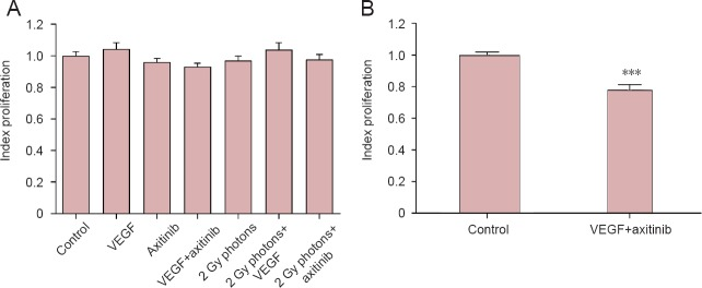 Influence of VEGF, the VEGF-R2 inhibitor axitinib, or irradiation with 2 Gy photons on cell proliferation of U-87 cells (A) and influence of VEGF combined with axitinib on U-251 cell proliferation (B). VEGF was added at 0.1 μg/mL, axitinib at 100 μg/mL. Data were expressed as the mean ± standard error, and analyzed by unpaired t -test.*** P