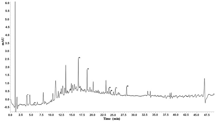 Analysis of the chemical profile of LSE by a <t>UHPLC-SPD-MS-MS</t> chromatogram. The chemical fingerprint of LSE was analyzed at 254 nm by a Shimadzu <t>LCMS-8040</t> UHPLC system, which comprised two LC-30AD pumps, a SIL-30AC autosampler with a CTO-30AC column oven, a DGU-20A5 degasser and a Shimadzu CBM-20A system controller. Chromatographic analyses were achieved at 45°C with an InertSustain C18 column using water-formic acid (100:0.1, v/v) and methanol as the mobile phase A and B, respectively. The delivered rate of mobile phase was 0.25 ml/min with the injection volume of 1 μ l. For the gradient separation, the process was as follows: 15–15% B at 0–2.0 min, 15–80% B at 2.0–5.0 min, 80–80% B at 5.0–7.0 min, and 80–15% B at 7.0–7.5 min. The data were analyzed by LabSolutions software (version 5.75). The major ingredients of LSE are indicated as 1–8. The numbers indicate the following substances: 1, adenosine; 2, 5-hydroxymethyluridine; 3, 4-p-coumaroylquinic acid; 4, procyanidin B; 5, procyanidin A; 6, 5′-β-D-glucopyranosyloxy jasmonic acid; 7, 4-O-(trans-p-coumaroyl) quinic acid; and 8, procyanidin tetramer. LSE, lychee seed extract; UHPLC, ultrahigh performance liquid chromatography.