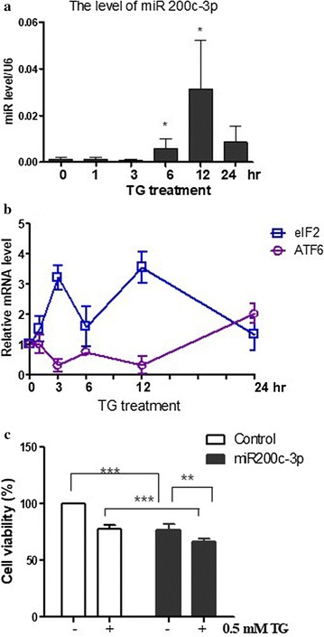 miR-200c-3p was associated with ER stress. a The level of miR-200c-3p was increased following thapsigargin (TG) treatment in PC-3 cells. After treatment with TG for 0, 1, 3, 6, 12, and 24 h, cells were lysed and complementary <t>DNA</t> was generated. RT-qPCR analysis was performed to determine the level of miR-200c-3p. U6 small nuclear ribonucleoprotein was used to normalize the expression of miR-200c-3p. b The expression levels of ATF6 and eukaryotic initiation factor (eIF)-2α were increased following TG treatment. RT-qPCR analysis was performed to evaluate the levels of ATF6 and elF2α. Levels of GAPDH were used for normalization. c Viability of PC-3 cells treated with TG in control or miR-200c mimics. Two days after transfection with miR-200c-3p mimic, 0.5 mM TG was added and cells were incubated for 48 h. The MTT assay was used to measure cell viability. Data are presented as the mean ± SEM of triplicate samples. ***p