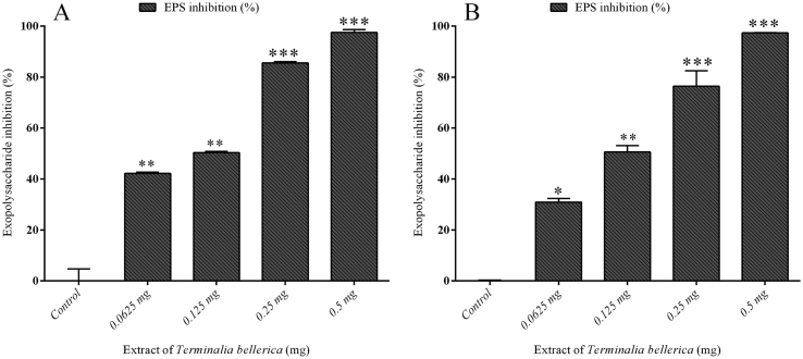 Effect of T. bellerica in EPS production by P. aeruginosa PAO1 and P. aeruginosa CI-01: The T. bellerica inhibited the production of EPS at concentrations ranging from 0.0625 to 0.5 mg/ml ( p