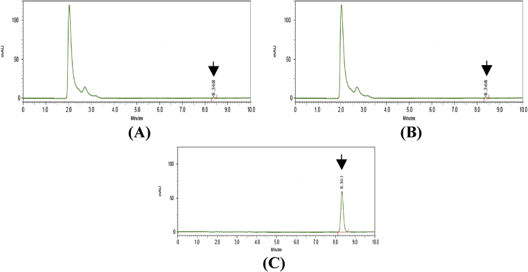 HPLC chromatogram for DAE (A), DHE (B) standard Betulinic acid (C). Arrow indicates peak for betulinic acid.