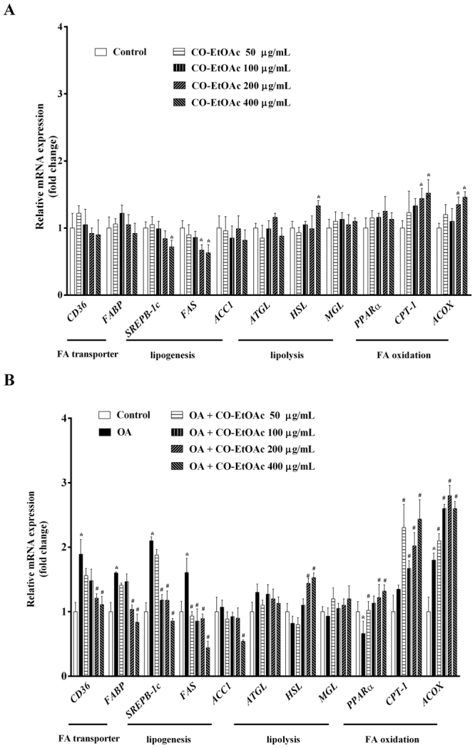 CO-EtOAc regulates the expression of lipid metabolism-related genes in FL83B hepatocytes. Total RNAs were extracted using <t>Trizol</t> reagent and mRNA was measured using <t>qRT-PCR.</t> Relative mRNA levels were normalized to the housekeeping gene, r18S. The fold changes relative to the control were calculated using the ΔΔCT method for mRNA expression levels of fatty acid transporter genes, CD36 and FABP ; lipogenic genes: SREBP-1c , FAS , and ACC1 ; fatty acid oxidation genes: PPAR-α, CPT-1 , and ACOX . All experimental groups had been treated with the same concentration of DMSO. ( A ) Cells were incubated with different concentrations (50–400 μg/mL) of CO-EtOAc. ( B ) Cells were incubated with 600 μM OA in the presence or absence of different concentrations (50–400 μg/mL) of CO-EtOAc. All results are presented as the mean ± SEM of three independent experiments. Values are expressed as relative fold change compared with the control group, which is set as 1. * p