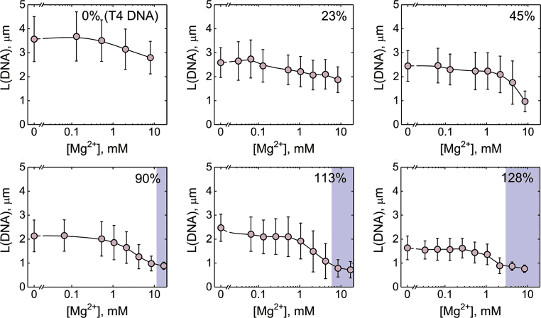 Compaction of T4 DNA and reconstituted chromatin by divalent cation (Mg 2+ ). Changes in the average long-axis length of YOYO-labeled T4 DNA (0.2 μM) and T4 DNA reconstituted with HOs (0.2 μM) at different loading degrees at various concentrations of magnesium chloride (MgCl 2 ) in a bulk solution of TE buffer with 10 mM of KCl. Blue areas correspond to Mg 2+  concentrations at which DNA or chromatin molecules are completely compacted (globule state). The error bars indicate the standard deviations of the average values measured over at least 100 individual DNA or chromatin molecules.