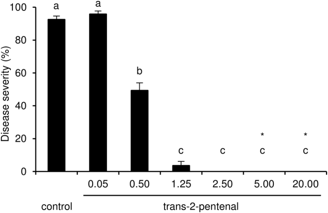 Effects of different concentrations of trans-2-pentenal on downy mildew in air volume. Leaf disks were treated with water (control) or trans-2-pentenal at different concentrations expressed in mg/L of air volume. Trans-2-pentenal was applied on a filter paper disk without contact with leaf tissues. Five replicates (dishes with five disks each) were assessed for each concentration and the experiment was carried out twice. As Kruskal-Wallis test indicated no significant differences between two experiments ( p > 0.05, n = 5 replicates per experiment), data from the two experiments were pooled. The pooled mean and standard error values of ten replicates from the two experiments are presented for each treatment. Letters indicate significant differences among concentrations according to the Kruskal-Wallis test ( p ≤ 0.05). Asterisks indicate phytotoxic effects on leaf disks.