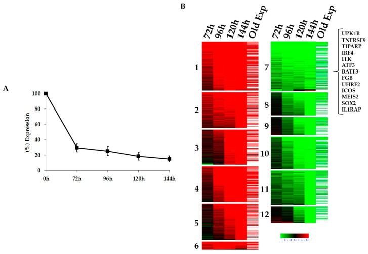 Kinetics of signal transducer and activator of transcription 3 (STAT3)-regulated genes in anaplastic large cell lymphomas (ALCL). ( A ) RT-qPCR analysis shows progressive decrease of STAT3 mRNA levels in the anaplastic lymphoma kinase (ALK) positive cell line TS-SUP-M2 S3S after doxycycline treatment (1 µg/mL). Pellet were collected at 72, 96, 120, 144 h. Error bars represent the standard deviation (s.d.) of triplicate measurements. ( B ) Heatmap representation of gene expression profile analysis after STAT3 inducible knockdown in the ALK positive cell line TS-SUP-M2 S3S. Biological triplicate were used for each experimental condition. Hybridization was carried out on HumanHT-12 v4.0 Expression BeadChip (Illumina Inc., San Diego, CA, USA). STAT3 modulated genes were grouped in 12 clusters. Upregulated RNAs are shown in red, downregulated RNA are shown in green. The colour bar represents relative gene expression changes. In brackets are shown genes selected for functional validation.