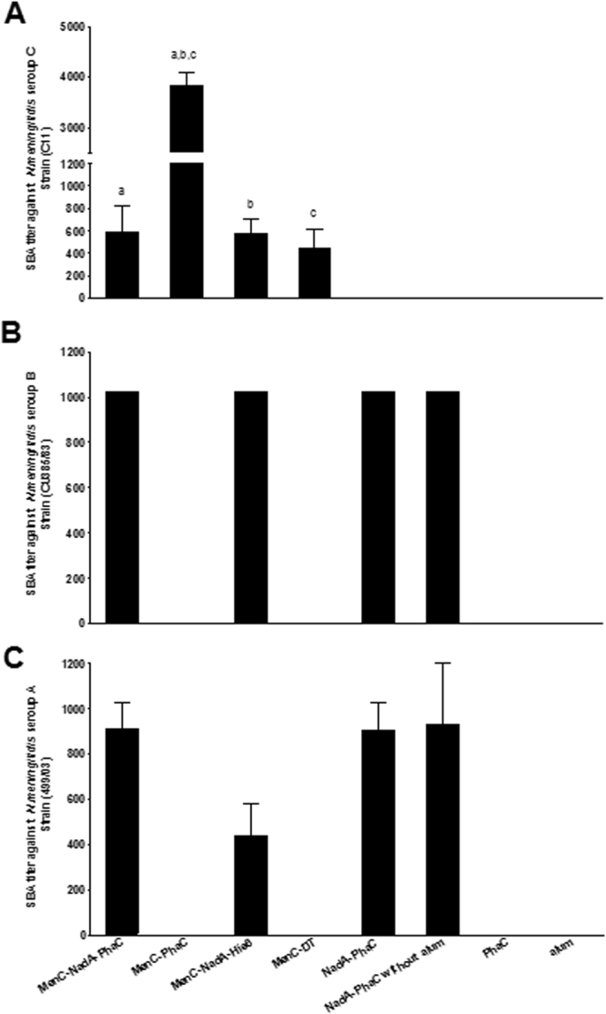 Bactericidal activity of various sera. ( A ) N. meningitidis serogroup C (Strain C11); ( B ) N. meningitidis serogroup B (Strain CU385/83); ( C ) N. meningitidis serogroup A (Strain 499/03). Bactericidal titers are expressed as mean ± SEM (8 mice each group) of the reciprocal value of the greatest sera dilution leading to ≥50% of killing. Statistical significant were determinate by an ANOVA by Kruskal-Wallis test with Dunn's multiple comparison post-test in Fig. 6A and labelled with letters. Groups MenC-PhaC presented superior IgG levels than group MenC-NadA-PhaC, MenC-NadA-His6 and MenC-TD with a, b ( p