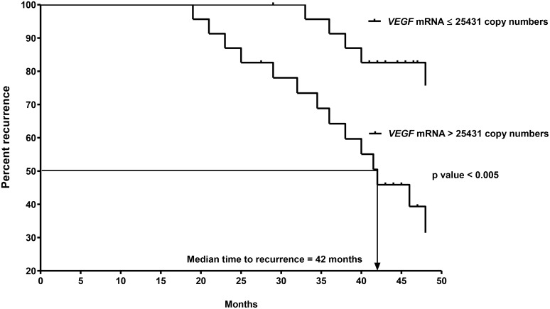 Kaplan-Meier curves of recurrence for the 2nd cohort of 47 CK20+ pN0 CRC patients after follow-up for 60 months based on VEGF-A mRNA copy numbers