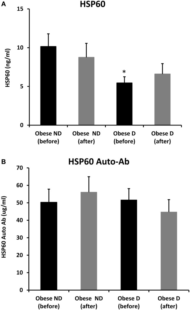 Secretion of <t>HSP60</t> and HSP60 autoantibodies into blood. Circulating levels of (A) HSP60 protein and (B) HSP60 auto-Abs were measured by <t>ELISA</t> using plasma samples from obese people without (ND) and with diabetes (D) before and after a 3-month physical exercise intervention ( n = 43 for each group). The p -value was determined using the Mann–Whitney test for comparisons between the diabetes and non-diabetes groups and using a paired t -test for intragroup comparisons before and after exercise. * denotes p