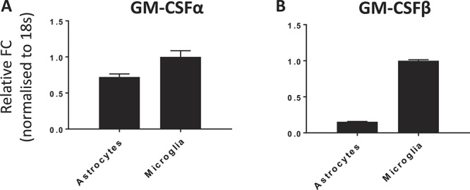 Verification of GM-CSFR mRNA expression. Taqman profiles confirm expression of both GM-CSFR α-chain (A) and common β-chain (B) subunits in astrocytes and microglia. GM-CSFR, granulocyte-macrophage colony-stimulating factor receptor.