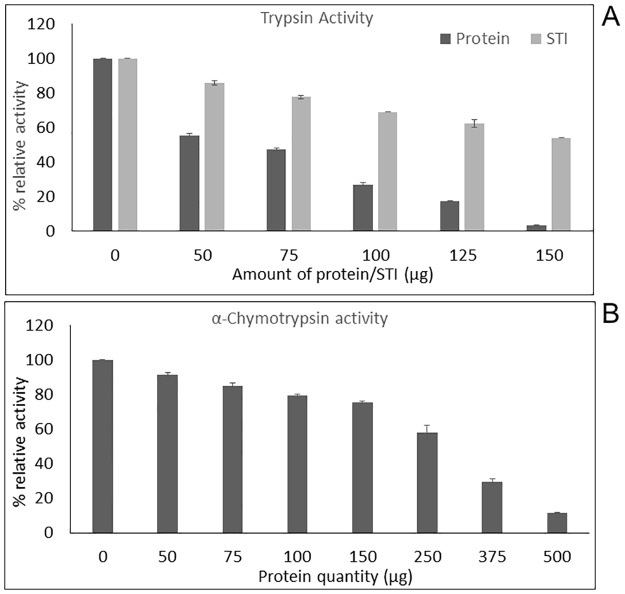 Relative activity of trypsin and α-chymotrypsin after a pre-incubation of 90 minutes with varying amounts of T . cordifolia proteins. (A) Increase in Trypsin enzyme inhibition with increase in amount of protein; (B) Increase in α-Chymotrypsin enzyme inhibition with increase in amount of protein.