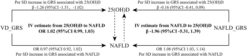 Bidirectional instrumental variable (IV) estimated association between 25(OH)D and NAFLD by unweighted GRSs. Data were presented as regression coefficient (β) or odds ratio (OR) and 95% confidence interval (CI). In this MR framework, the instrumental variable estimators are OR IV(VD-NAFLD) = exp (ln (OR VD_GRS-NAFLD )/β VD_GRS-25(OH)D ) and β IV(NAFLD-VD) = β NAFLD_GRS-25(OH)D /ln (OR NAFLD_GRS-NAFLD ). Data were adjusted for age, sex, BMI, current smoking, hypertension, diabetes, <t>HDL-cholesterol,</t> <t>LDL-cholesterol</t> and triglycerides. 25(OH)D, 25-hydroxyvitamin D; VD_GRS, vitamin D genetic risk score; NAFLD_GRS, nonalcoholic fatty liver disease genetic risk score; SD, standard deviation.