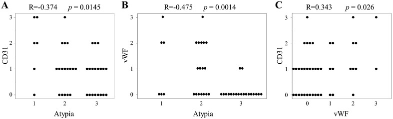 Association between (A) cellular atypia and CD31, (B) cellular atypia and vWF, and (C) CD31 and vWF. R: Pearson's correlation coefficient. The immunohistochemical reactivity of CD31 and vWF were scored as negative=0, mild=1, moderate=2 and high=3. Cellular atypia levels were scored as mild=1, moderate=2 and severe=3.