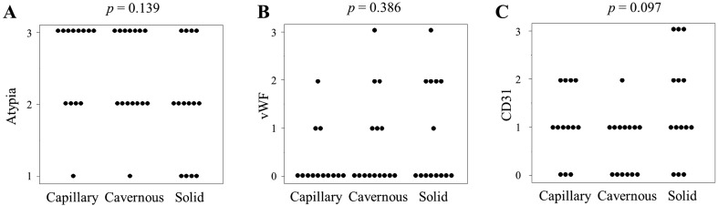 Expression levels of CD31 (A) and vWF (B), and cellular atypia scores (C) in each growth pattern. Kruskal wallis test was done for statistical analysis. The immunohistochemical reactivity of CD31 and vWF were scored as negative=0, mild=1, moderate=2 and high=3. Cellular atypia levels were scored as mild=1, moderate=2 and severe=3.