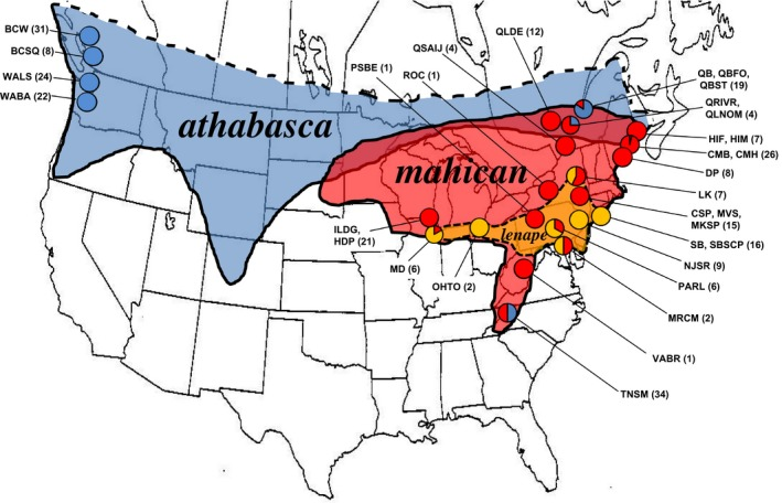 Geographical range map of the Drosophila athabasca species complex: D. athabasca ( WN , blue), D. mahican ( EA , red), and D. lenape ( EB , orange) with specific locations shown as pie charts. Each pie chart represents the relative frequency of the three species in each location based on isofemale lines genotyped and/or phenotyped for species identity (sample size of identified lines used per location is shown in parentheses). See Materials and Methods for identification procedure. See Table S1 for detailed location information and description of all lines studied