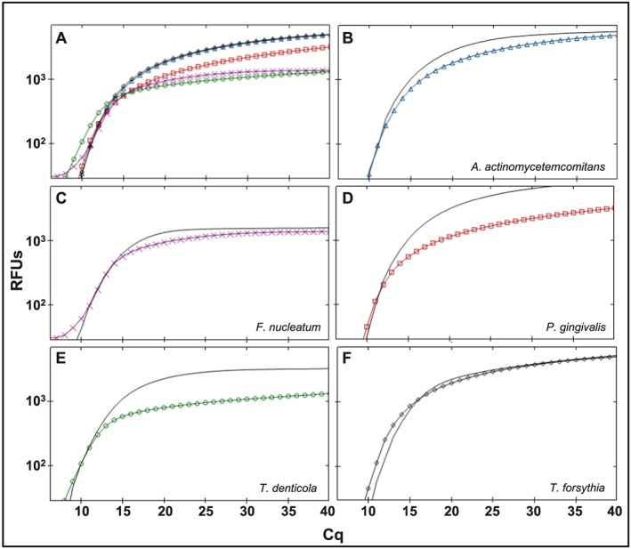 Comparison of multiplex and <t>singleplex</t> assays with <t>TaqMan</t> probe‐based detection. (a) multiplex amplification with mixed TaqMan oligos, mixed TaqMan probes, and mixed target DNA as template. (b–f) Singleplex TaqMan amplification signals when species‐specific TaqMan oligos, species‐specific TaqMan probes, and specific target DNA were used (lines with markers) relative to multiplex amplification signal when mixed TaqMan oligos, mixed TaqMan probes, and mixed target DNA were used (straight lines)