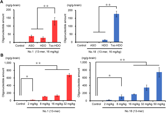 Quantification of the parent ASO strand after intravenous administration of OAT3 -targeting oligonucleotides. Amounts of the parent ASO strand in the brain measured by quantitative RT-PCR 72 h after an intravenous injection of (A) 13-mer ASO, HDO, or Toc-HDO (No. 1 or 18) at doses corresponding to 16 mg/kg of ASO; (B) 13-mer Toc-HDO (No. 1 or 18) at different ASO doses. Data shown are relative to mouse U6 RNA levels and are expressed as mean values ± s.e.m. ( N = 3, * P